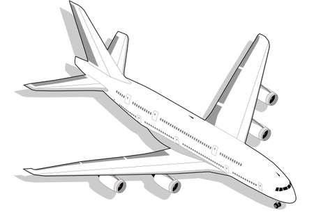 boeing: Isometrica Boeing in bianco con motore a quattro