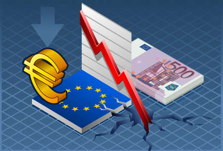 economic depression: Isometric Europa crisis Detailed illustration of a isometric concept of economic depression This illustration is saved in EPS10 with color space in RGB Where possible, the objects have been grouped to make it easily editable or hidden