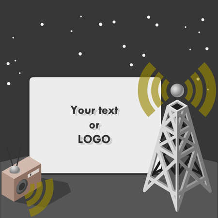 omroep: filmscherm met antenne en twee-weg radio. Stock Illustratie