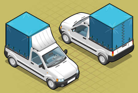 Isometric van pick up in two position Vector
