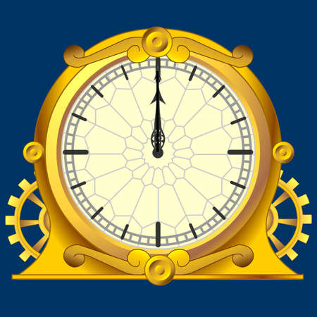 vintage magic victorian gold clock with gears Vector