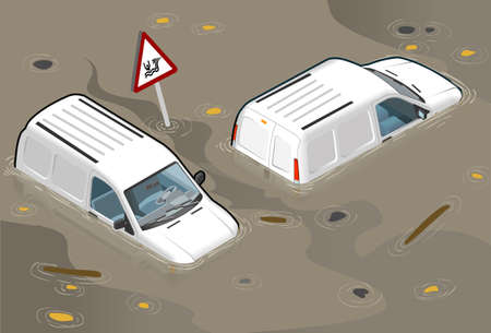 Isometric white van flooded in two position Vector
