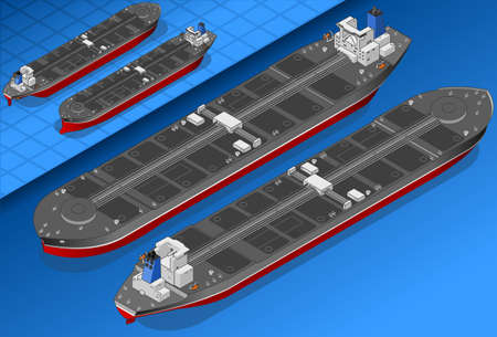 oil transportation: Isometric oil tanker in two position