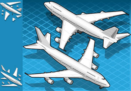 boeing: Isometric white airplane in two position