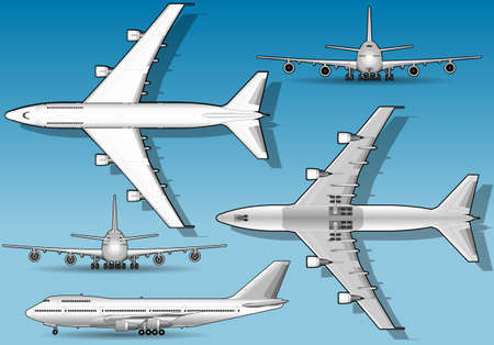 White airplane in five orthogonal position Vector
