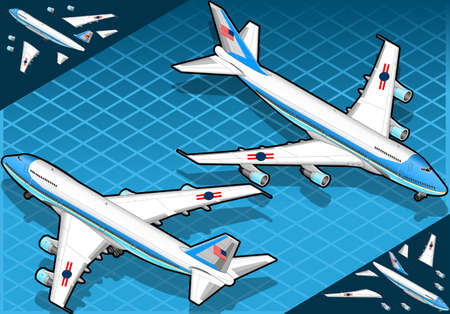 commercial airplane: Isometric air force one in two position Illustration