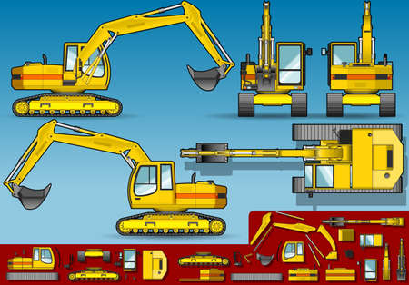 excavate:  yellow excavator  in five orthogonal position.
