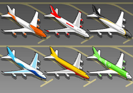 supersonic transport: Isometric airplanes in six livery.