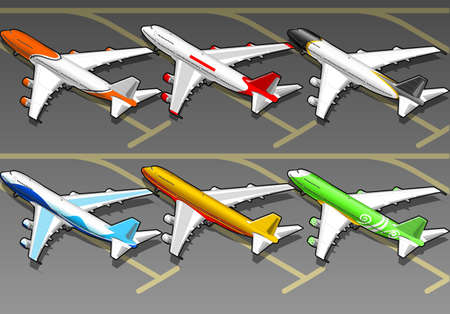 livery: Isometric airplanes in six livery Illustration