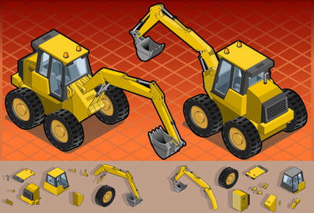 Detailed illustration of a isometric yellow excavator in two position.  Vector