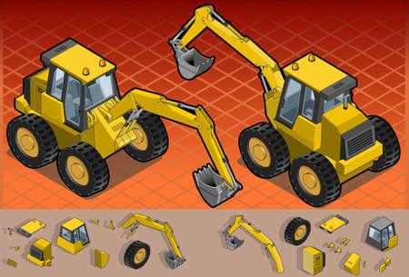 hydraulic platform: Ilustraci�n detallada de una excavadora isom�trica amarillo en dos posiciones. Vectores