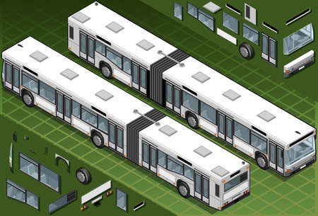 rear wheel: Detailed illustration of a Isometric bus in two position.