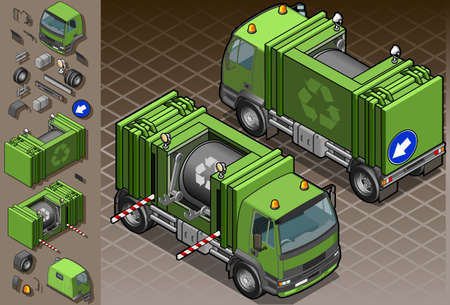 Detailed illustration of a isometric garbage truck in two position. Vector