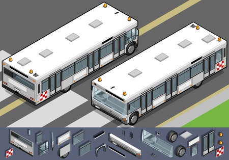 rear wheel: Detailed illustration of a Isometric airport bus in two position.
