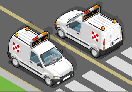 Detailed illustration of a Isometric airport Follow-me-Car in two position.  Vector