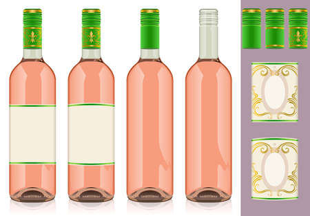Detailed illustration of a Four rose wine bottles with label. Stock Vector - 12068074