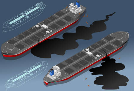 Isometric  ship tanker leaky oil in two position Vector