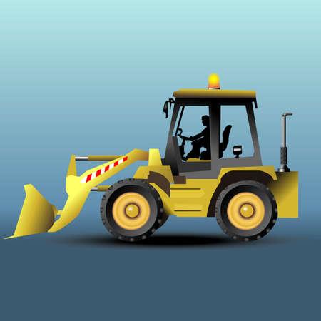 hydraulic platform: isom�trica excavadora amarilla de dos posiciones