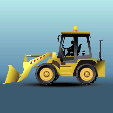 isometric yellow bulldozer two position Vector