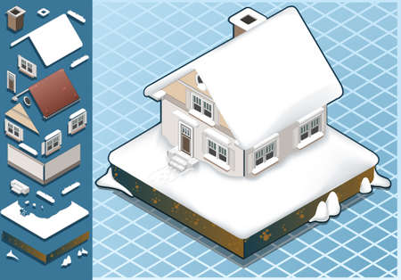 isometric Snow Capped House  Vector