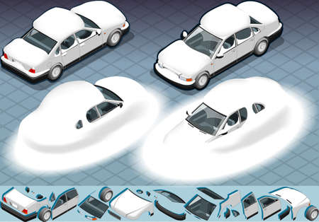 four isometric Snow Capped white car in two position Vector
