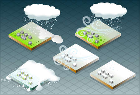 pitched roof: isometric representation of natural disaster snow