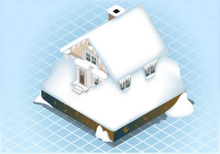 ecological damage: isometric Very hard Snow Capped House Illustration