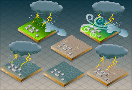 evacuation:  isometric natural disaster flood mudded terrain   Illustration