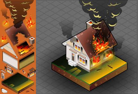 incendio casa: Casa isom�trica en el fuego Vectores