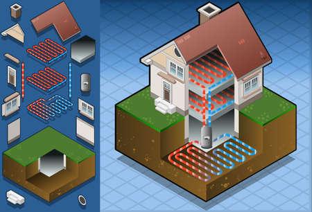 bomba de calor geotérmica en diagrama de calefacción por suelo radiante Ilustración de vector