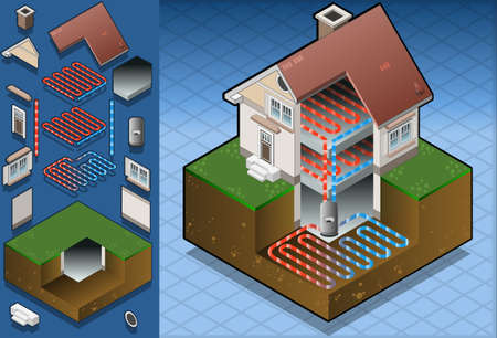 geothermal heat pump under floor heating diagram Vector
