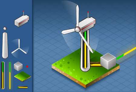 isometric production and transport of energy through wind turbine. Vector