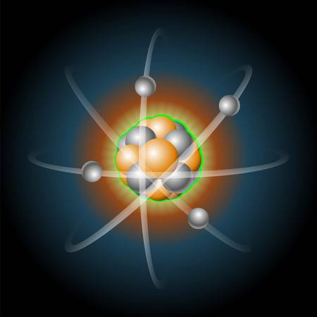 revolves: Detailed illustration of a atom with nucleus of protons and electrons that revolves around Illustration
