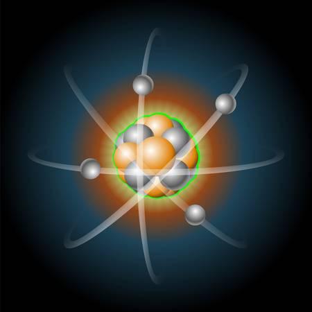 protons: Ilustraci�n detallada de un �tomo con n�cleo de protones y electrones que gira en torno a