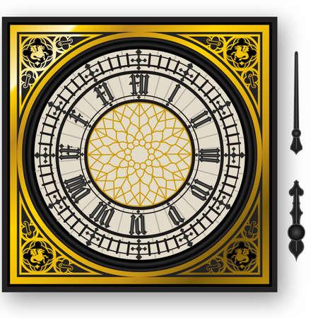 ilustracja ćwiartce victorian zegar z nakłuwaczy