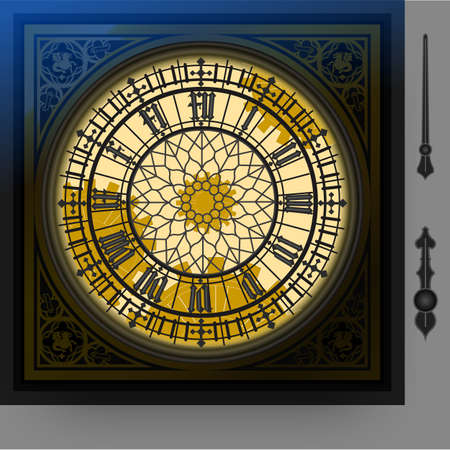 london night: illustration of a quadrant of magical victorian clock with lancets