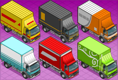 Isometric delivery truck in six livery Vector