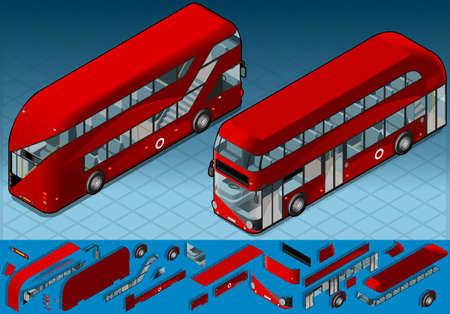 decker: Isometric Double Decker Bus in two position