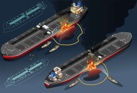 Isometric oil tanker fire disaster in two position Vector