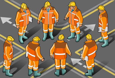 Isometric standing foreman in eight positions  Vector