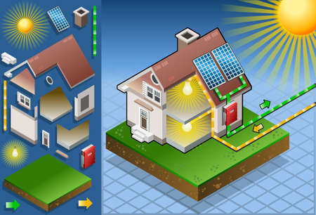 solar power station: Isometric house with solar panel Illustration