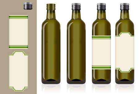 aceite de oliva: cuatro botellas de aceite de oliva Vectores