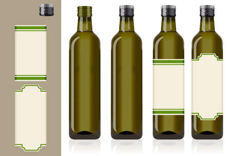 cooking oil: four olive oil bottles