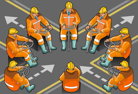 team worker:  isometric driverr at work in eight positions