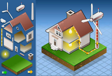 wind energy: Isometric house with wind turbine