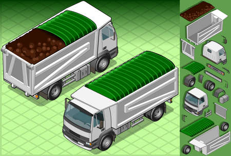isometric container truck in two position  Vector