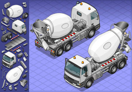 rear wheel: isometric cement mixer truck in two position