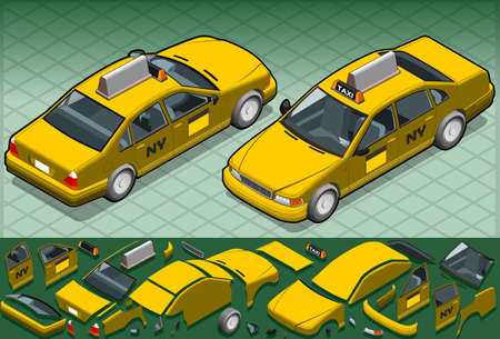 Isometric yellow taxi in two position
