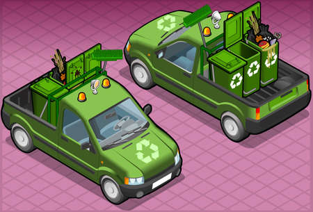 pick light:  isometric garbage van in two position