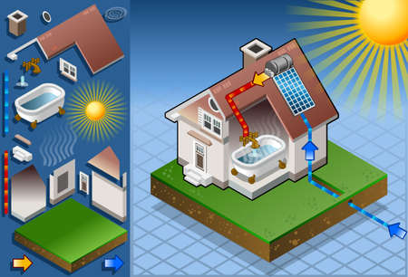 solar house: Isometric solar panel in production of hot water